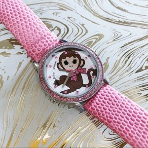 Betsey Johnson Pink Embossed Leather Monkey Watch